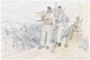 Final Stages of the German War: The Mont Blanc Battalion of the Chasseurs Alpins, 1st French Army : a forward position on Mont Blanc