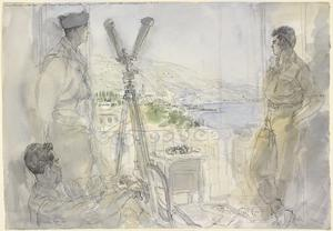 Final Stages of the German War: A French Artillery Officer and a Japanese-American Infantry Officer overlooking German Positions from an Observation Post in the Hotel Astoria, Menton