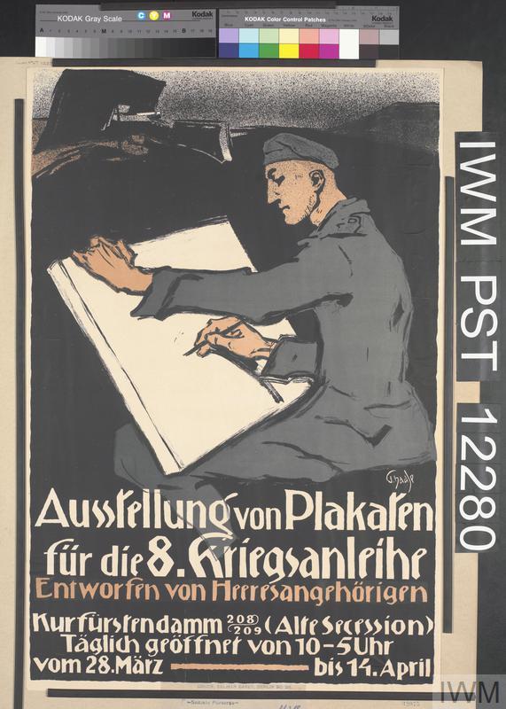 Ausstellung von Plakaten für die Achte Kriegsanleihe [Exhibition of Posters for the Eighth War Loan]