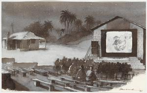 An Open-air Cinema at Bahrein, Persian Gulf