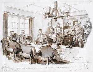 The Surrender : the scene in the German Officers' Mess on Alderney May 1945, when the Commandant of the island surrendered to the Colonel in charge of the British landing party