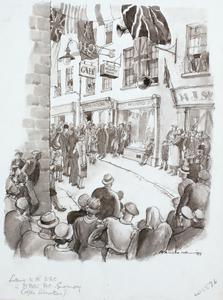 Listening to the BBC in St Peter Port, Guernsey, after the Liberation in May 1945
