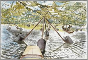Experimental Camouflage : inspecting camouflage nets suspended over water to conceal it from the air