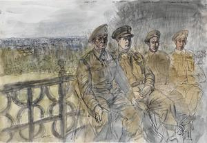 The 50th (Northumbrian) Division, 1944: Company Quartermaster : Sergeant J Norris ; Captain J E Sergeant ; Sergeant R Anderson ; Signalman J W Stansfield of the Royal Corps of Signals