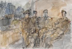 The 50th (Northumbrian) Division, 1944: 5th Battalion, East Yorkshire Regiment : Captain W J Sugarman ; Lieutenant T F Lowe MC; Lieutenant-Colonel G W White ; Lieutenant E J Crews