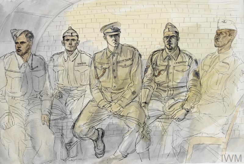 The 50th (Northumbrian) Division, 1944: 6th Battalion, Durham Light Infantry, 151 Brigade : Private S Worthington, MM ; Lance- Corporal W Capon, MM ; the Regimental Sergeant-Major ; Sergeant C R Haseley, DCM, MM ; Sergeant C R Critchley, MM