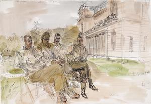 1st United States Infantry Division: Captain Q Roosevelt, a Nephew of President Roosevelt ; Lieutenant R C Lindsay ; Lieutenant P Dunlay ; Chief Warrant Officer A De Ramery