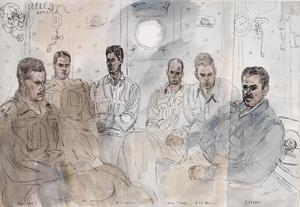 British Army and American Naval Officers in the Ward Room of US Landing Ship Tank : Major D Roberts, Royal Signals ; Lieutenant- Colonel M J B Hornsby, RAMC ; Lieutenant J L Corcoran ; Ensign D J Rhoades ; Lieutenant A R Nelson ; Lieutenant R H Morley, all United States Navy