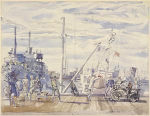 Loading Parcels with US Transport Vessel, Reykjavik, August 1943