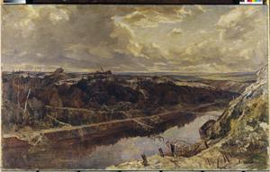 The St Quentin Canal, 1918 : painted from the temporary bridge erected across the St Quentin Canal north of Bellenglise looking towards Bellicourt