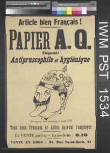 Papier A Q Antipruscophile et Hygiénique [Anti-Prussian-loving A Q Toilet Paper]