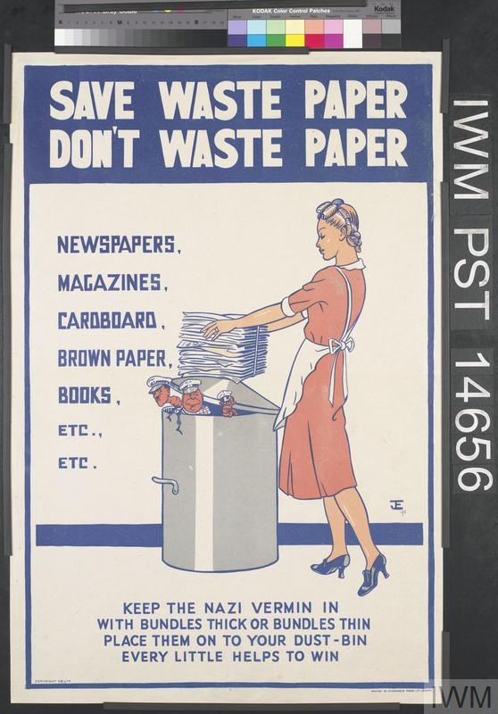 Save waste paper don 39 t waste paper art iwm pst 14656 for Art from waste paper