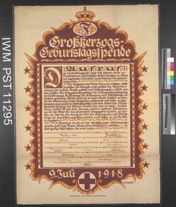 Grossherzogs Geburtstagsspende [The Grand Duke's Birthday Fund]