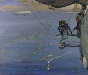A Convoy, North Sea, 1918. From NS 7: painted from an airship off the coast of Norway
