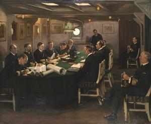 "The End: The fore-cabin of ""HMS Queen Elizabeth"" with Admiral Beatty reading the terms of the surrender of the German Navy, Rosyth, 16th November 1918"
