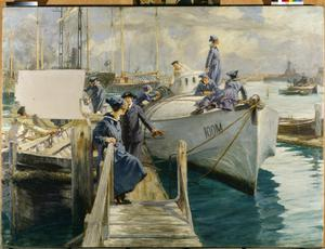 WRNS Officer and Ratings : Boat-cleaning at the Coastal Motor Boat Base, Haslar Creek, Portsmouth