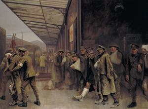 BRCS and order of St John Workers attending wounded on their arrival at Boulogne Station