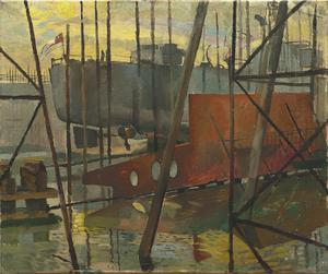 The View across the Musgrave Yard, Belfast : with the Centre Plate of a ship in the foreground and Ship No 1154 ready to leave the slips