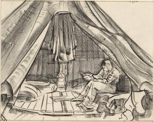 A Gunner in a Bell Tent