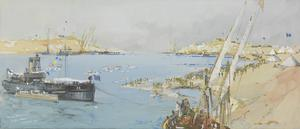 "Ferry Post, Ballah, Suez Canal, 1916 : Anzac Day celebrations. Carley Float Race, HM Hopper ""32"", Official Judge Ship"