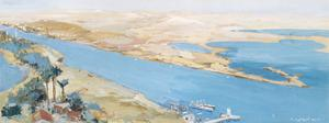 Suez Canal. 28th April 1916 : from the crow's nest of Deversoir Signal Station. Serapeum, on the extreme left, was the Base Camp.
