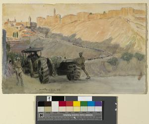 Mount Zion. A heavy battery on the road beneath Mount Zion, leading to the Jaffa Gate.