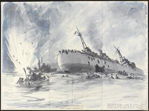 The Sinking of HMS Hecla with the Destroyer HMS Marne : torpedoed while picking up survivors 11th November 1942