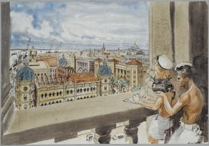 Rangoon, May 1945. A view from the Royal Naval Signal Tower