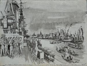 HMS Argonaut, the first British ship to enter Shanghai after the Japanese surrender, September 1945