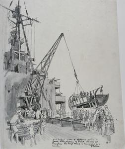 HMS Belfast gives a Party on Board to Children of British Internees at Shanghai. The large crane is being used as a swing