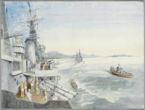 """Formosa : 6th September 1945, """"HMS Argonaut"""" preceded by """"HMS Belfast"""" entering the mined approach to Kiirung, Formosa"""