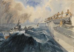 """China Sea off Shanghai : 15th September 1945, Officers of a prisoner-of-war liaison team being transferred from """"HMAS Quiberon"""" to""""HMS Colossus"""" by bo'sun's chair during heavy seas"""