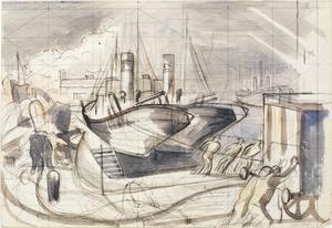 Study for 'A Dockyard Fire'