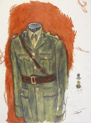 "'Moss Bros 27.1. 88'  study for 'The Scissors, The Cotton and the Uniform""."