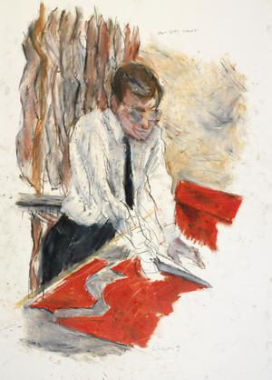 "'Moss Bros 11 March 87'  study for 'The Scissors, The Cotton and the Uniform""."