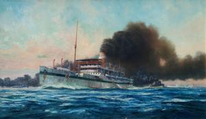 "The Smoke Screen : Destroyers throwing a smoke screen around Hospital Ship ""Karapara"" after Hospital Ship ""Dover Castle"" had been torpedoed by an enemy submarine"