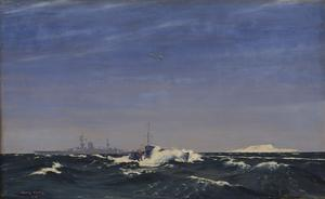"""Big and Little : """"HMS Glorious"""" and an ML. The island of Inchkeith under snow."""