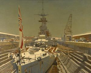 HMS Courageous in Dry Dock, at Rosyth. Winter.