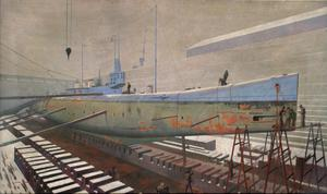 The British Submarine K22 in Dry Dock at Rosyth: Winter
