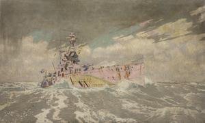 "'Dazzled': A Camouflaged Battleship : ""HMS Ramillies"" in a gale of wind"