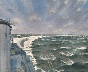 The Wake. HMS Courageous at Top Speed