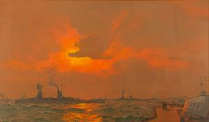 The German Fleet at Anchor off Inchkeith, Firth of Forth : after the Surrender, 22nd November 1918