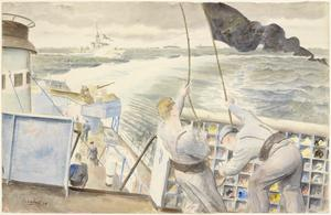 Hoisting the Black Pennant: the black pennant is hoisted when going into attack submarines