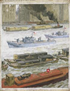 War-time traffic on the river Thames: War-supplies at Paul's Wharf