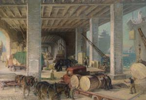 War Transport : a dockside unloading shed - tobacco, ammunition, machinery