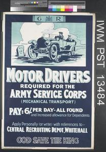 Motor Drivers Required for the Army Service Corps