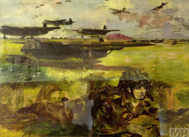 Exercise 'Mush' : gliders landing on a 'captured' airfield. Paratroops have surrounded the field and are waiting the unloading of the gliders