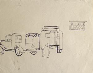 Red Cross Truck: Series of sketches for work in IWM