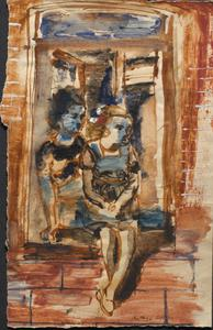 Two Girls Sitting In A Window: Series of sketches for work in IWM
