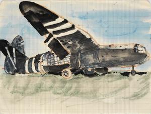 Crashed Horsa Glider: Series of sketches for work in IWM